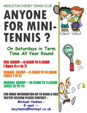 Anyone for Junior Tennis ??